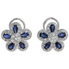 18 Karat Gold 0.75 Carat Diamonds and 2.66 Carat Blue Sapphire Flower Earrings