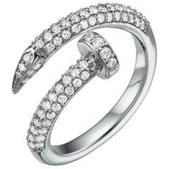 18 Karat Gold, 0.75 Carat, F Color, VS Clarity, Spiral Nail Diamond Crusted Ring