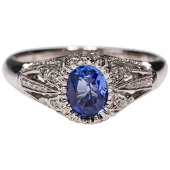 18 Karat Gold 0.77 Carat Blue Sapphire Diamond Halo Ring New Art Deco Style