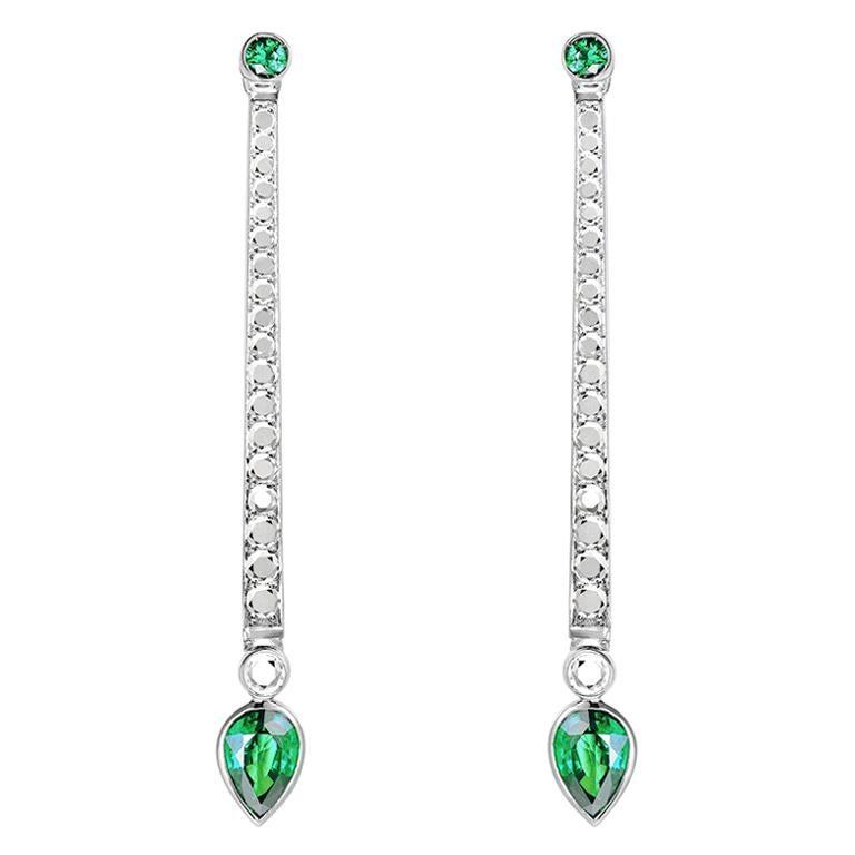 Sybarite Jewellery 1.28 Carats Pear Shaped Emeralds White Diamonds Drop Earrings