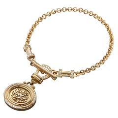 18 Karat Gold, 0.94 Carat Diamond and Pearl Calligraphy T-Lock Love Bracelet