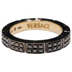 18 Karat Gold 1 Carat Round Cut Pave Black Diamond Eternity Band Ring by Versace
