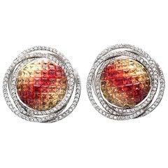 18 Karat Gold 1.04 Carat Diamonds and 8.51 Carat Multi Sapphire Round Earrings