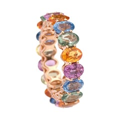18 Karat Gold 10.47 Carat Oval-Cut Multi-Sapphire and Diamond Eternity Band Ring