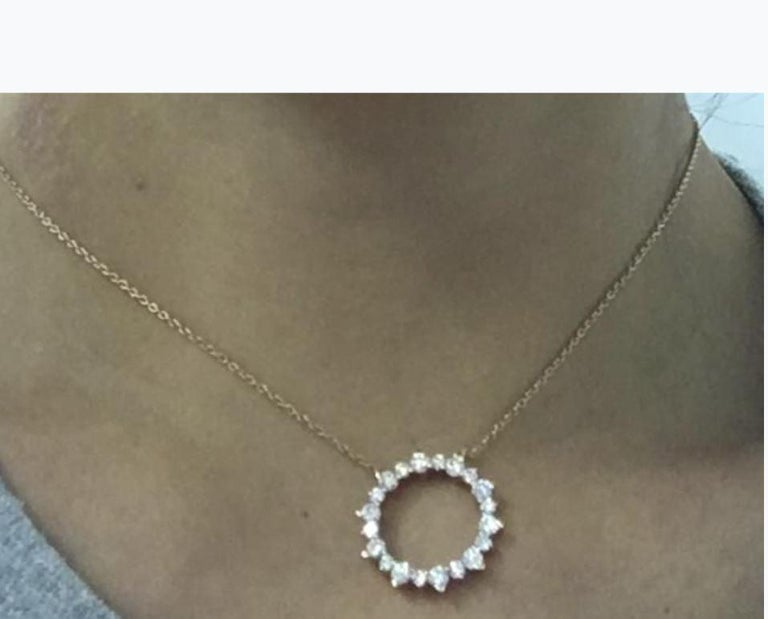 Gemstone: White Diamond Diamond Shape:  Round Brilliant   Composition: Solid Rose Gold 18k Diamond Carat Weight: 1.06 cts Color: F Average Clarity: Vs Gold weight: 5.31 Natural Conflict-free Diamonds  Chain length: Please add a note for the length