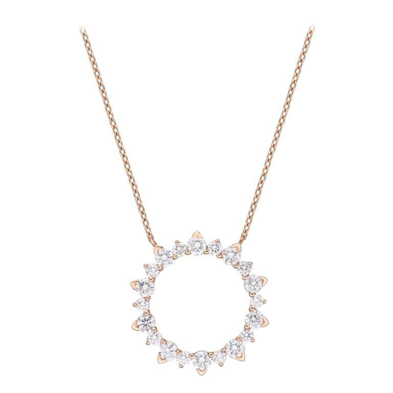 18 Karat Gold, 1.06 Carat, F Color, VS Clarity Diamond Eternity Pendant Necklace