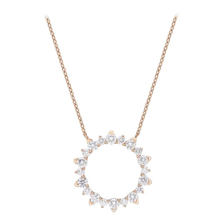 18 Karat Gold, 1.06 Carat, F Color, VS Clarity Diamond Eternity Pendant Necklace For Sale