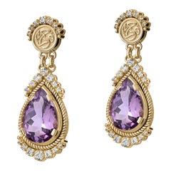 18 Karat Gold, 10.85 Carat Amethyst and 0.79 Carat Diamond Gypsy Drop Earrings