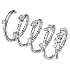 18 Karat Gold, 1.1 Carat, F Color, VS Clarity, Spiral Diamond Crusted Ring