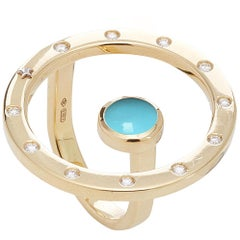18 Karat Gold, 11 Diamonds 0.22 Carat, Turquoise Cabochon Cut, Cocktail Ring