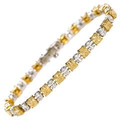 18 Karat Gold 11.21 Solitaire Canary Yellow and White Diamond Tennis Bracelet