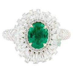 18 Karat Gold 1.15 Carat Natural Emerald and Diamond Cluster Statement Ring