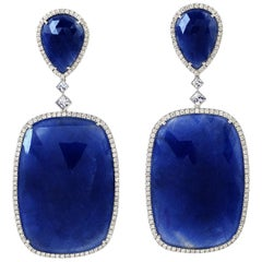 18 Karat Gold 118.76 Carat Blue Sapphire Diamond Earrings