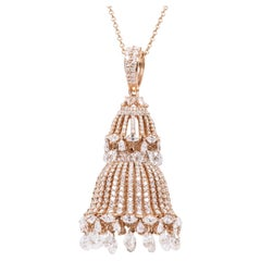 18 Karat Gold 12.45 Carat Diamond Chandelier Drop Pendant with Link Necklace