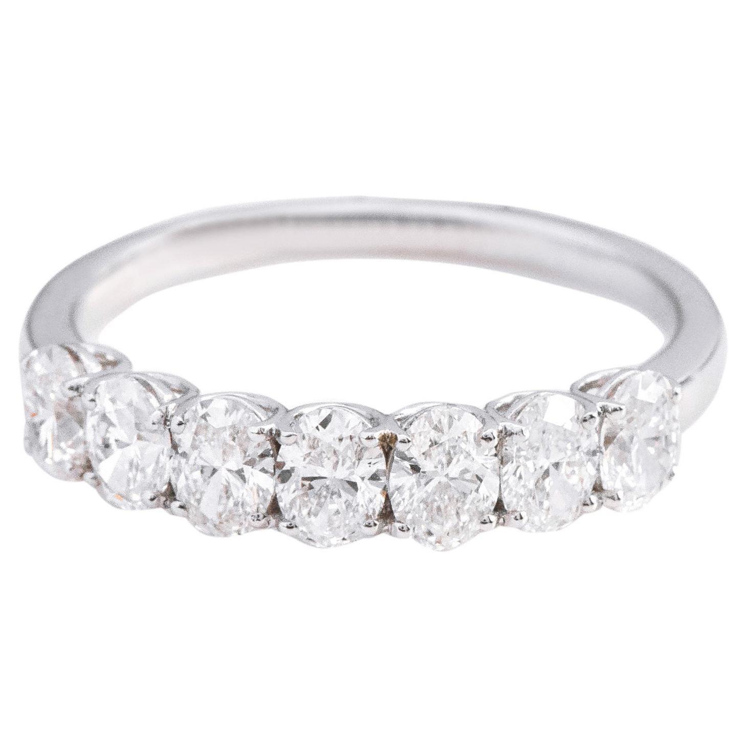 18 Karat Gold 1.27 Carat Solitaire Oval-Cut Diamond Half Band Eternity Ring