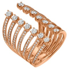 18 Karat Gold, 1.3 Carat, F Color, VS Clarity, Multi-Layer Diamond Crusted Ring