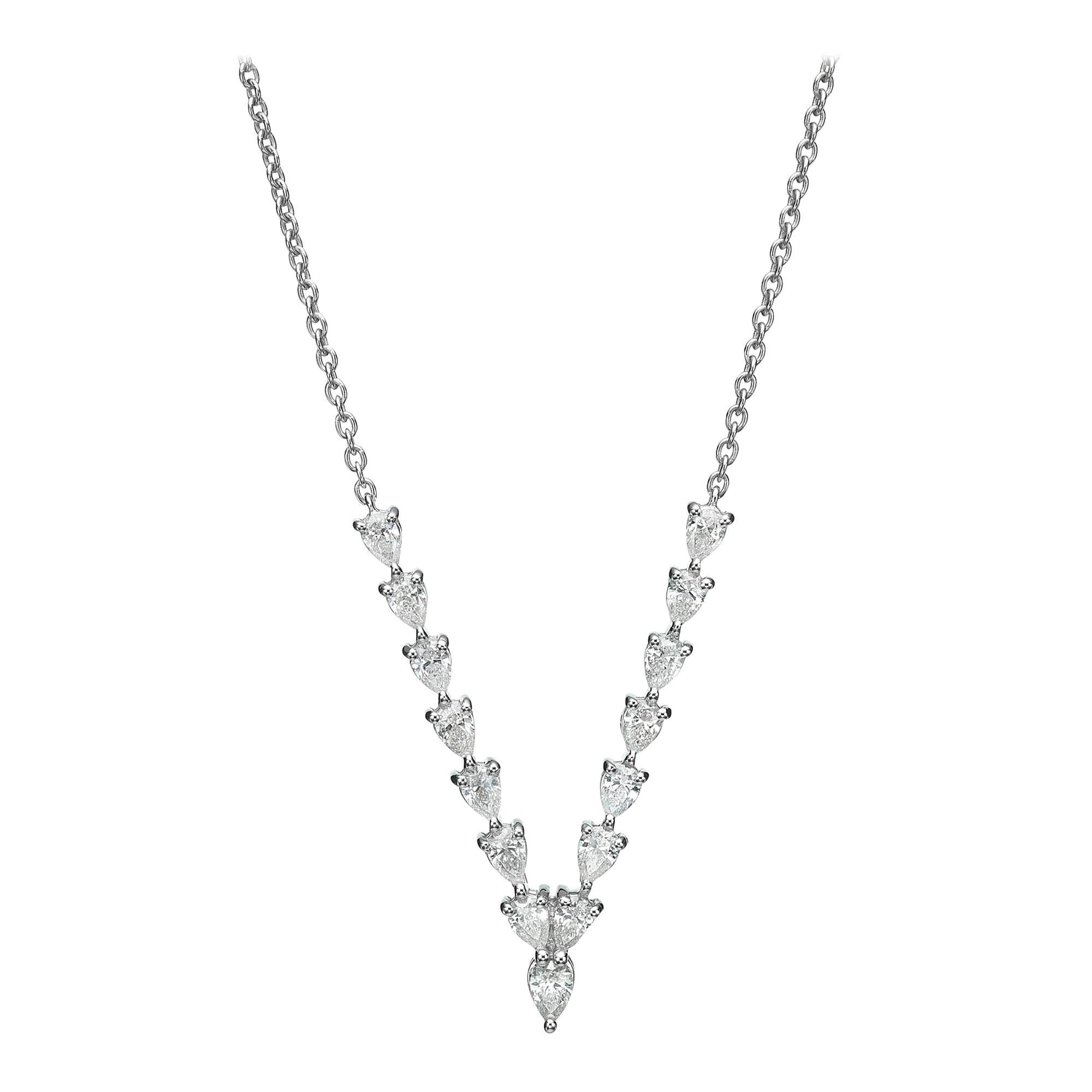 18 Karat Gold, 1.36 Carat, F Color, VS Clarity, V Shape Diamond Pendant Necklace