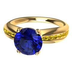18 Karat Gold 1.55 Carat Sapphire, Fancy Vivid Yellow Diamonds Cocktail Ring