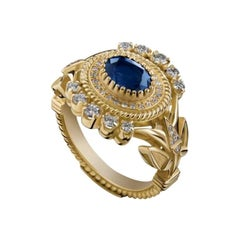18 Karat Gold, 1.65 Carat Sapphire and Diamond Limited Lotus Crown Ring