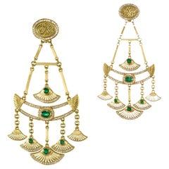 18 Karat Gold, 2.00ct Emerald and 1.50ct Diamond Lotus Chandelier Earrings