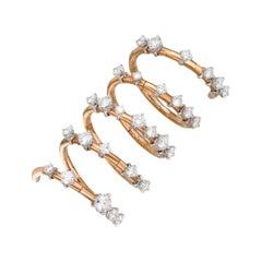 18 Karat Gold, 2.07 Carat, F Color, VS Clarity, Spiral Diamond Crusted Ring