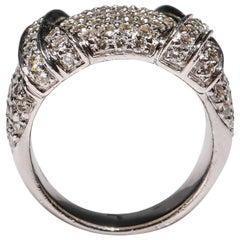 18 Karat Gold 2.12 Carat Round Cut Pave Diamond Double Cross Band Ring