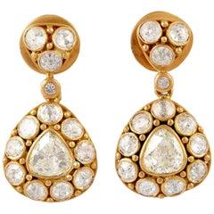 18 Karat Gold 2.13 Carat Rose Cut Diamond Drop Earrings