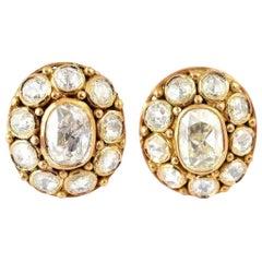 18 Karat Gold 2.13 Carat Rose Cut Diamond Stud Earrings