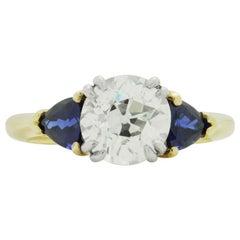 18 Karat Gold, 2.15 Carat Old European Cut Diamond and Sapphire Ring