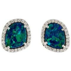 18 Karat Gold 2.35 Carat Opal Diamond Stud Earrings
