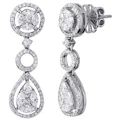 18 Karat Gold 2.40 Carat Marquise and Round Invisible Set Diamonds Earrings
