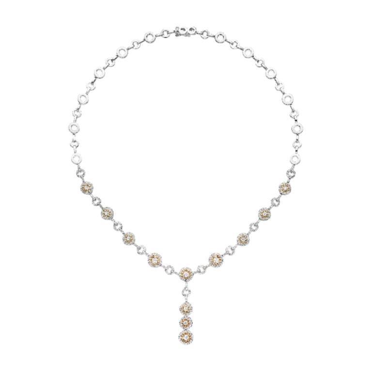 18 Karat Gold, 2.58 Carat, F Color, VS Clarity, Diamond Necklace