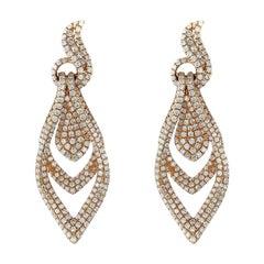 18 Karat Gold 2.81 Carat Diamond Earrings