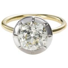 18 Karat Gold 2.82 Carat Old Mine Brilliant Diamond Solitaire Engagement Ring