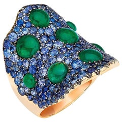 18 Karat Gold 2.99 Carat Cabochon Emerald and 3.81 Carat Blue Sapphire Wave Ring