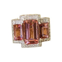 18 Karat Gold, 3 Stone / Pieces, Natural Tourmaline and Diamonds Cocktail Ring