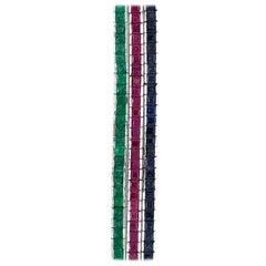 18 Karat Gold 3 Straight Line Emerald, Ruby and Sapphire Square Cut Bracelets