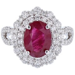 18 Karat Gold 3.06 Carat Burmese Ruby GIA Certificate 1.18 Carat Diamond Ring