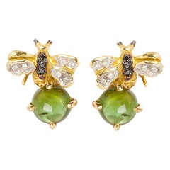 18 Karat Gold 3.20 Karat Tourmaline 0.10 Karat Diamonds Bees Stud Earrings