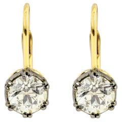 18 Karat Gold 3.22 Carat Old European Cut Diamond Solitaire Drop Earrings