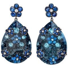 18 Karat Gold 32.80 Carat Oval Blue Topaz Earrings with Sapphires and Aquamarine
