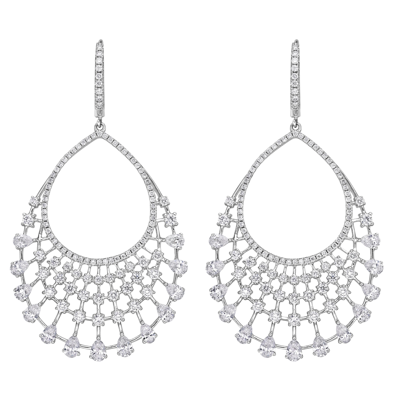 18 Karat Gold. 3.45 Carat, F Color, VS Clarity Diamond Paved Earrings