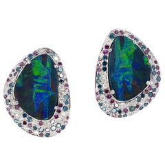 3.65 carat Opal Diamond Sapphire 18 Karat Gold Stud Earrings