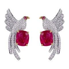 18 Karat Gold 3.67 Carat Natural Unheated Burmese Ruby and Diamond Stud Earrings