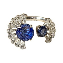 18 Karat Gold, 3.69 Carat, Blue Sapphire and Pear Diamonds Ring