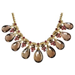 18 Karat Gold, 389.60 Carat Smokey Topaz and Pink Tourmaline Gypsy Drop Necklace