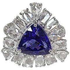 18 Karat Gold 3.92 Carat Trillion Tanzanite and Rose Cut Diamond Cocktail Ring