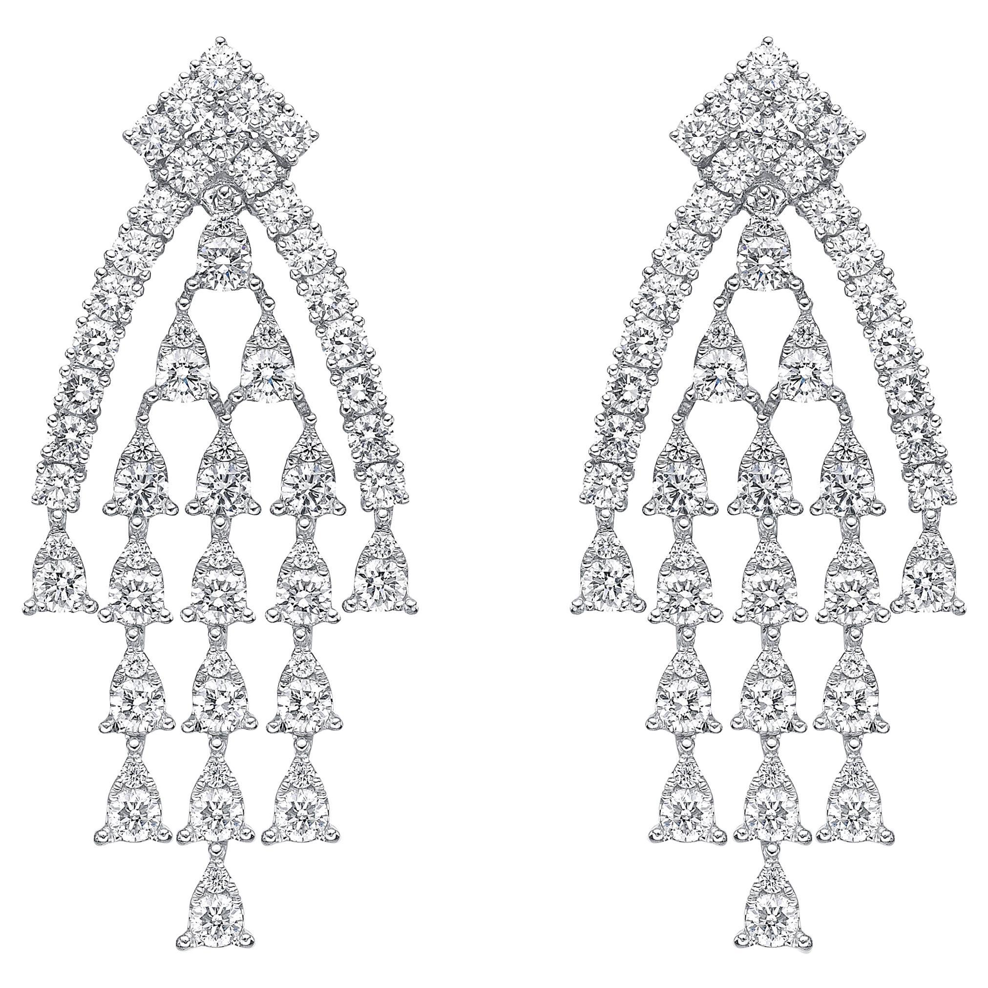 18 Karat Gold, 3.99 Carat, F Color, VS Clarity, Diamond Paved Earrings