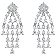 18 Karat Gold, 3.99 Carat, F Color, VS Clarity, Diamond Paved Earrings