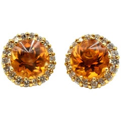 18 Karat Gold, 4.00 Carat Fantasy Cut Citrine with Round Diamond Halo Earrings